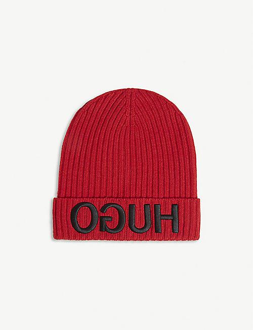 156078627bfec ... denmark hugo logo knitted wool beanie 4f220 6dbb3