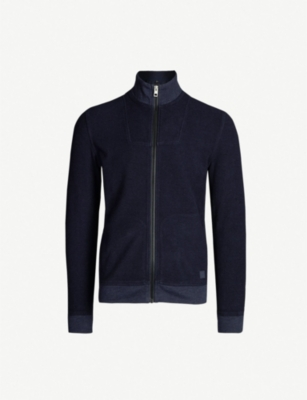 BOSS Funnel-neck cotton-jersey jacket