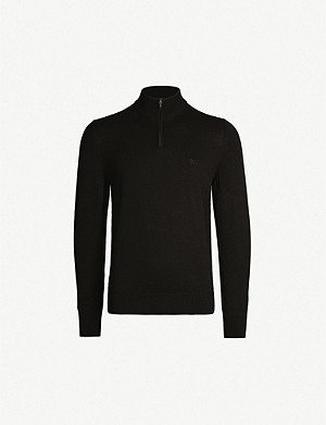 BOSS Logo-embroidered funnel-neck knitted jumper