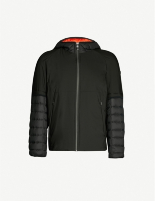 BOSS Quilted-sleeve padded shell hooded jacket