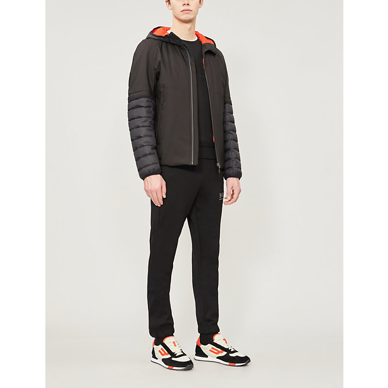 HUGO BOSS | Quilted-Sleeve Padded Shell Hooded Jacket | Goxip
