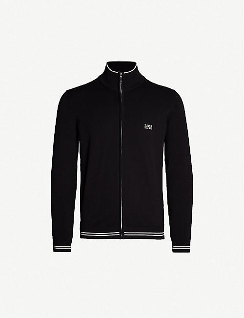 BOSS Zip-up cotton jumper