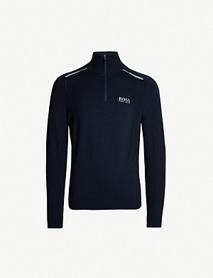 BOSS Funnel neck cotton jumper