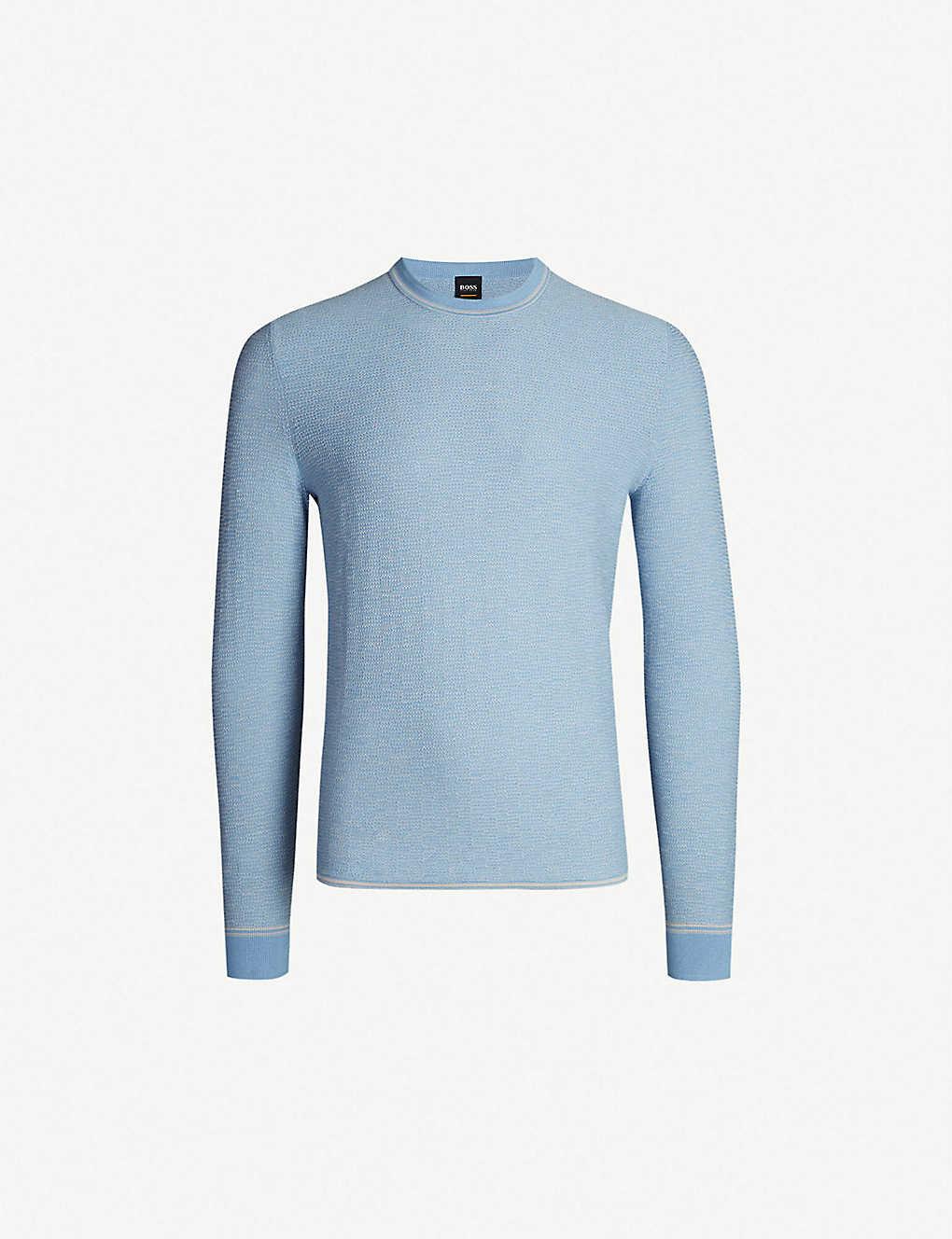 24009794 BOSS - Crewneck cotton and wool-blend jumper | Selfridges.com