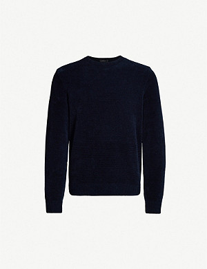 BOSS Crewneck cotton velvet jumper
