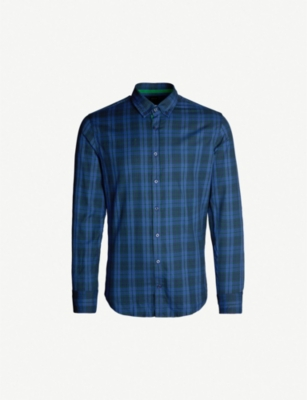 BOSS Checked stretch-cotton slim-fit shirt