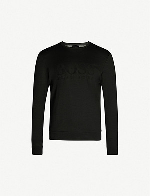 BOSS Logo-embossed cotton-blend sweatshirt