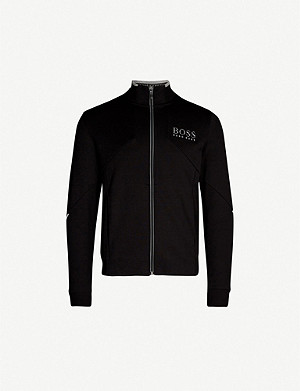 BOSS Cotton-blend jersey zip-up sweatshirt