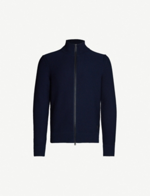 BOSS Funnel-neck cotton-blend jacket