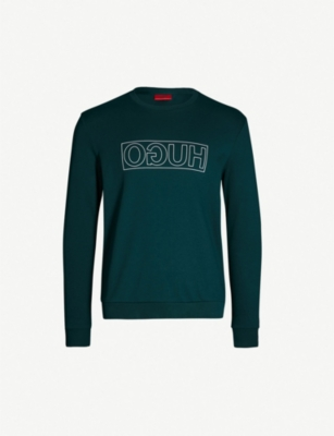 HUGO Logo-print cotton-jersey sweatshirt