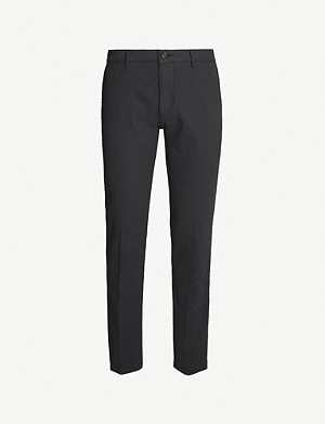 BOSS Slim-fit straight stretch-cotton trousers