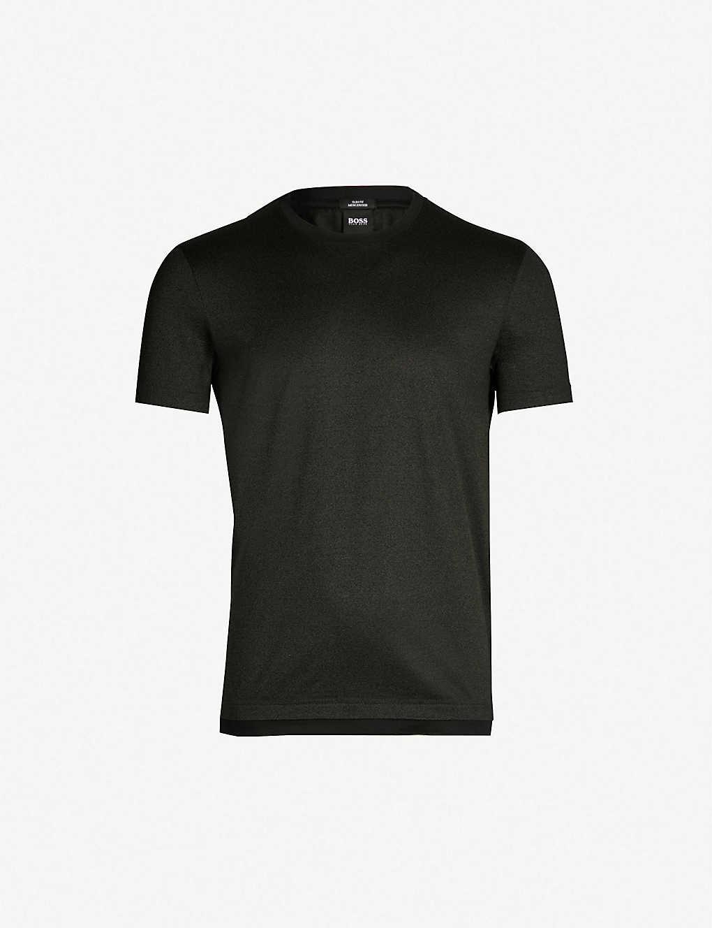 6c840fae98 BOSS - Contrast-trim cotton-jersey T-shirt   Selfridges.com