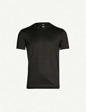 BOSS Contrast-trim cotton-jersey T-shirt