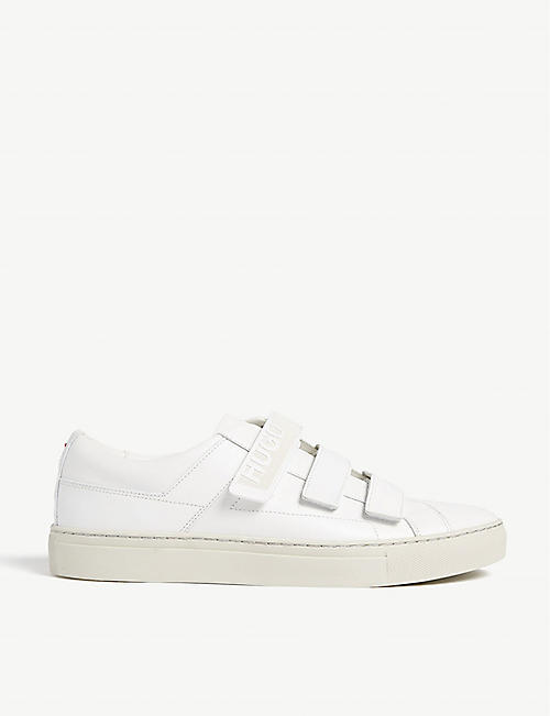 HUGO: Logo leather trainers