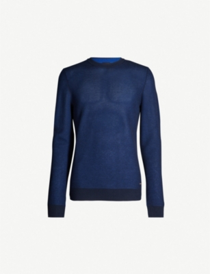 BOSS Crewneck purl-knit cotton jumper