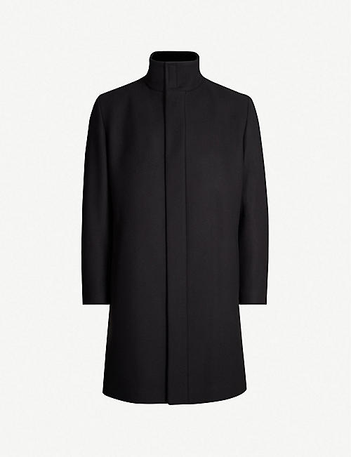 HUGO: High-neck wool-blend trench coat