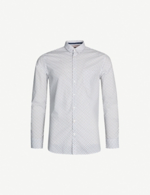 BOSS Nuts and bolts patterend slim-fit cotton shirt