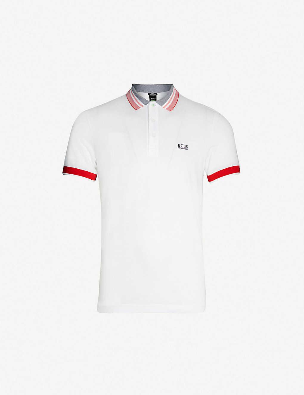 5724a15870 Logo-embroidered slim-fit cotton-piqué polo shirt - White ...