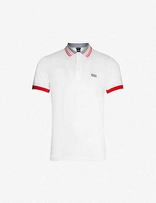 bfd0abbb BOSS Logo-embroidered slim-fit cotton-piqué polo shirt