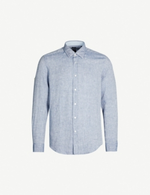 BOSS Slim-fit linen shirt