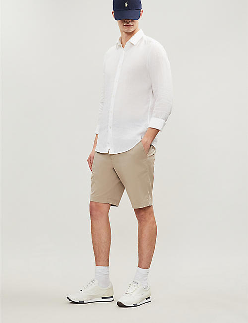 BOSS Regular-fit cotton-blend twill chino shorts