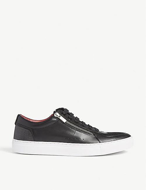 HUGO Zip detail leather trainers