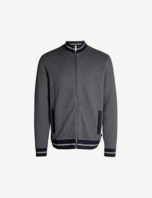 BOSS Zipped high-neck cotton-blend sweatshirt