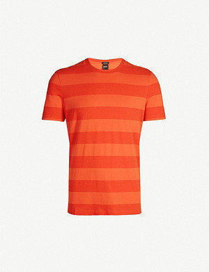 BOSS Striped cotton and linen-blend T-shirt