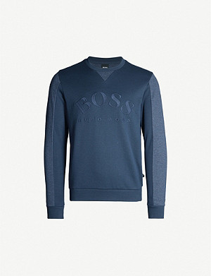 BOSS Logo-embroidered cotton-jersey sweatshirt