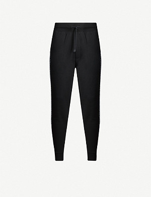 HUGO Reversed logo-tape relaxed-fit cotton jogging bottoms