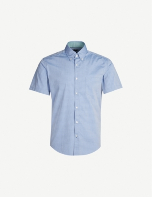 BOSS Short-sleeved slim-fit stretch-cotton shirt
