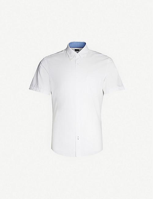 78df390de9c BOSS Short-sleeved slim-fit stretch-cotton shirt