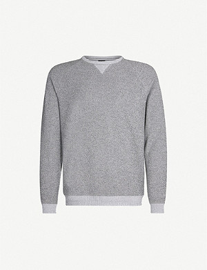 BOSS Two-tone cotton-towelling sweatshirt