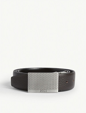 BOSS Dual buckle leather belt