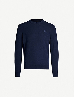 BOSS Logo-embroidered cotton knit jumper