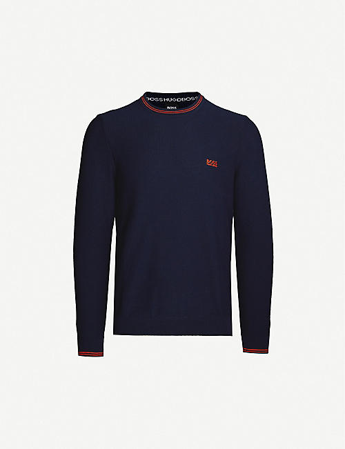 BOSS Logo-embroidered cotton-knit jumper