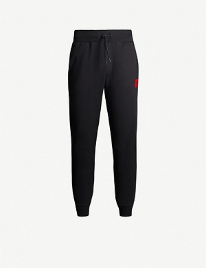HUGO Logo-patch cotton-jersey jogging bottoms