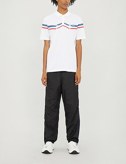 HUGO Chevron-stripe cotton-pique polo shirt