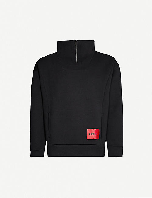 HUGO Logo-patch funnel-neck cotton-jersey sweatshirt