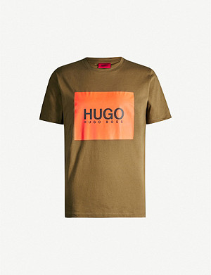 HUGO Logo-print crewneck cotton-jersey T-shirt