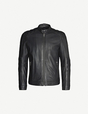 BOSS Logo-patch leather jacket