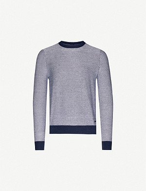 BOSS Striped cotton-and-wool blend jumper