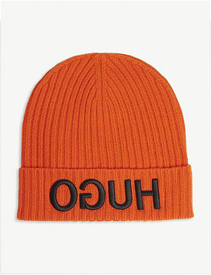 HUGO Mirror logo wool beanie