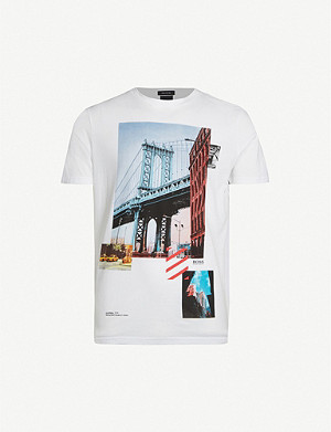 BOSS Graphic-print cotton-jersey T-shirt