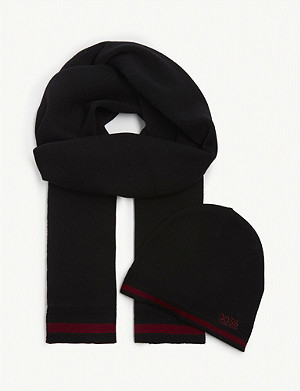 BOSS Wool-blend beanie and scarf set