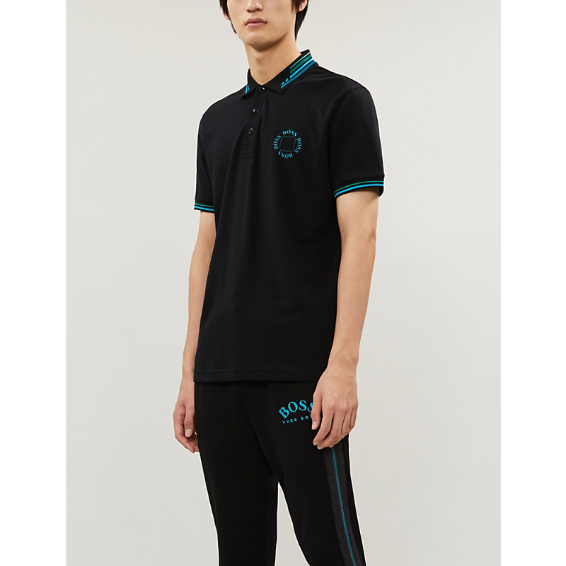 Boss T-shirts LOGO-EMBROIDERED REGULAR-FIT COTTON-PIQUÉ POLO SHIRT