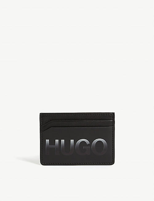 HUGO Logo print leather card holder