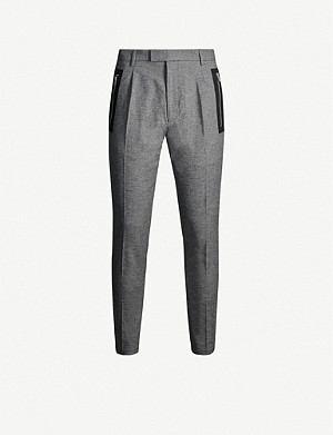 HUGO Slim-fit stretch-cotton tape-trimmed trousers
