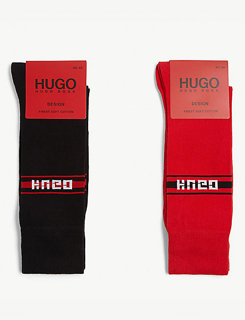 HUGO Reverse logo cotton-blend socks gift set of two