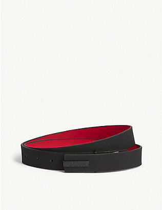 HUGO: Reversed logo leather belt